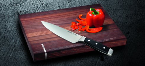 High quality steel blades and wooden cutting boards are a match made in heaven!